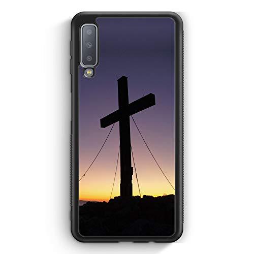 Kreuz Foto - Silikon Hülle für Samsung Galaxy A7 (2018) Cover - Motiv Design Christlich Religion Jesus Schön - Handyhülle Schutzhülle Case Schale