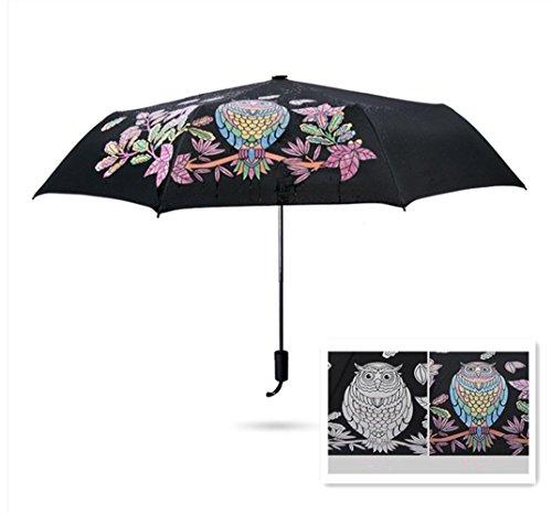 GenialES Paraguas Mágicas Cambia Color Plegable Ligera Anti-UV Cortavientos para Sol Lluvia Cambiar del Blanco al Multicolor Bajo gotas de Lluvia