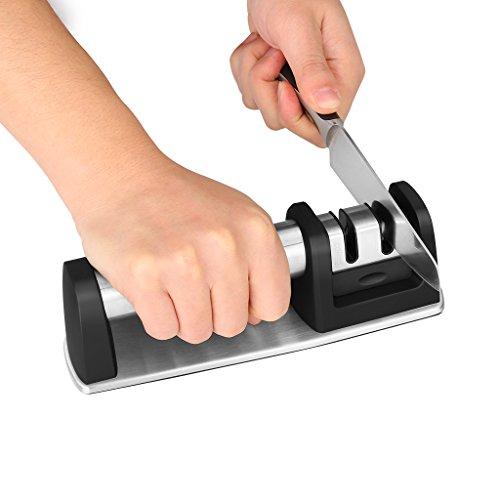 WELQUIC Afilador de Cuchillos Manual con Sistema de Ruedas de 2 Etapas Manija Antideslizante Diseño Ergonómico Herramienta de Afilado no Eléctrica para los Cuchillos Rectos