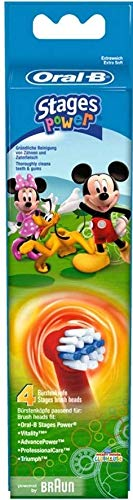 Braun Oral-B Stages Power Kids Aufsteckbürsten Micky Maus 4er Pack Bürstenköpfe Kinder EB10-2K Mickey Mouse