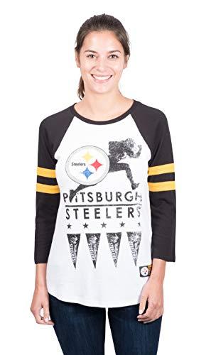 Icer Brands NFL Pittsburgh Steelers Damen T-Shirt Running Game 3/4 Long Sleeve Tee Shirt, Small, Weiß