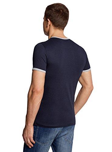 oodji Ultra Herren Gerades T-Shirt mit Kontrastbesatz Blau (7923B) ...