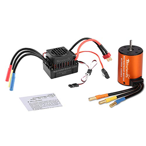 Kesbin 3650 4300KV Brushless Motor 3.175mm Sensorless with 60A ESC Brushless Waterproof Electronic Speed Controller Combo Set Upgrade Power System for 1/10 RC Car Boat