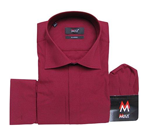 Herrenhemd mit Umschlagmanschetten Muga Bordeaux