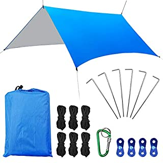 AUTOPkio Hammock Rain Fly Tent Tarp 3x3m/118''x118'', UV Proof Camping Shelter Canopy Backpacking Tarpaulin Shelter Waterproof with Ropes Stakes Lightweight for Sunshade Outdoor Travel