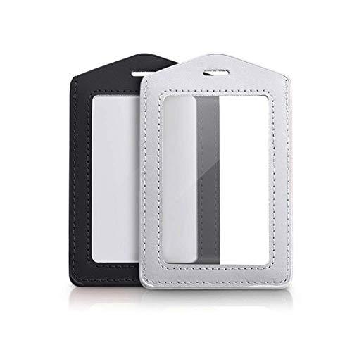 2 x vertikale Ausweishalter aus echtem Leder, wasserdicht, transparent, für Schulausweis, Büroausweis, Schwarz und Silbergrau (nur Halter) Transparente Front Leder