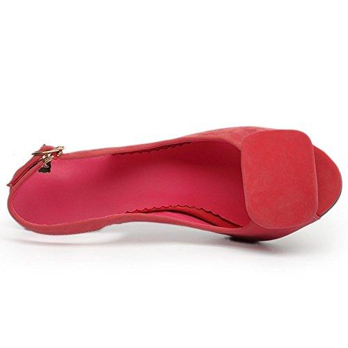 TAOFFEN Damen Fashion Peep-Toe Stiletto Sommer Sandalen Mit Bogen Rosa