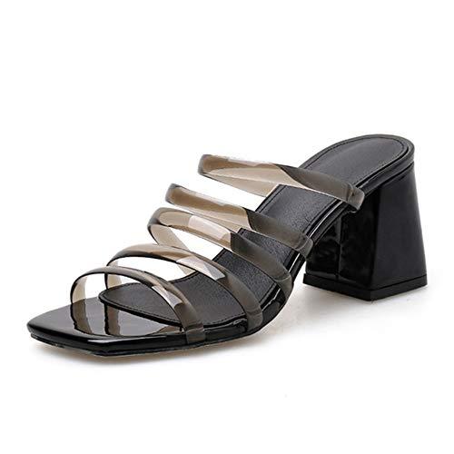 Lindarry Schieben Sie in Sandalen für Frauen Multi Bunte PVC-Riemen Käfig Clogs Slipper Peep Toe Mitte Block Ferse Karree Mode (Color : Schwarz, Size : 38 EU)