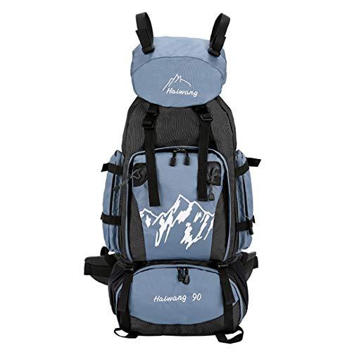 HENDTOR 90L Outdoor Bergsteigenbeutel Männer Frauen Wandern Camping Taschen Wasserdichte Sporttasche Reiserucksäcke Light Blue -