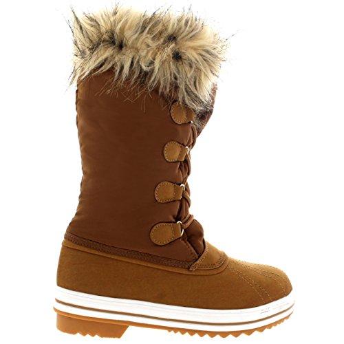 Damen Nylon Warm Pelz Trim Ente Regen Schnee Im Freien Tall Winter Regen Stiefel Tan
