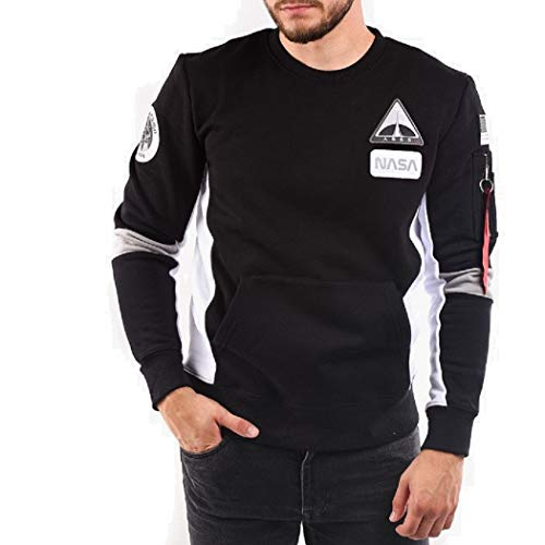 Alpha Industries Men Sweatshirt Space Camp, Größe:XL, Farbe:Black