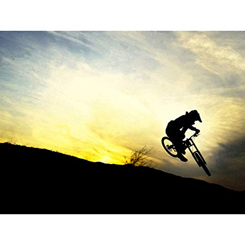 SPORT DOWNHILL MOUNTAIN BIKE SILHOUETTE BICYCLE SUNSET 18X24\'\' PLAKAT POSTER ART PRINT LV11153