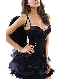 r-dessous schwarzer Engel dark black angel + Flügel Kostüm Karneval Halloween Gothic