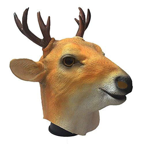 Dance War Kostüm - IENPAJNEPQN Lustige Latex Sikahirsch Kopfform Masken Halloween Ball Dance Party Tier Requisiten Maske (Color : Sika Deer, Size : One Size)