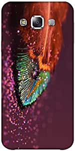 Snoogg Peacock Feather Drops Hard Back Case Cover Shield Forsamsung Galaxy E5