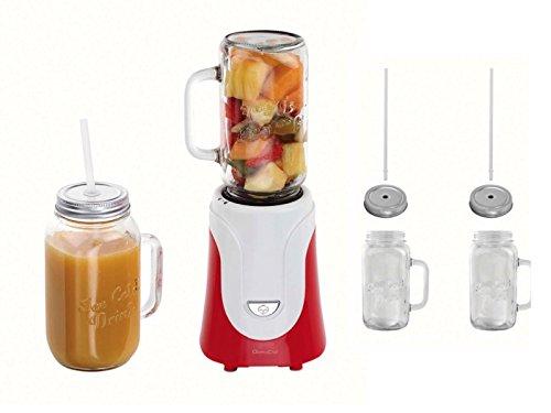 Frullatore 2bicchiere in vetro con coperchio e stohhalm smoothie maker (blender, 4lame in acciaio inox, tritatutto, 300watt, latte shaker, limonaden bicchieri, 500ml)