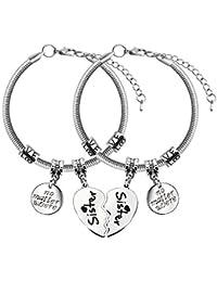Collar para hermana, hermana, pulseras, regalo familiar para mujer, hermana, forma de corazón (pulseras)