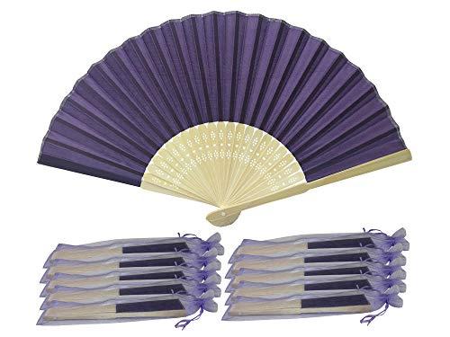 Indigo Lot de 10 Rangebow SHF14 de gros en soie élégant Éventail en bambou cadeau mariage faveur de la cage thoracique