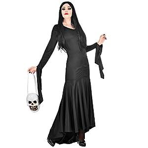 WIDMANN 01872 - Disfraz de morticia para mujer, negro, M