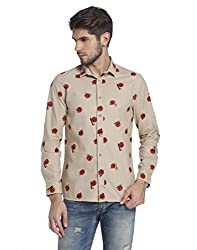 Jack & Jones Mens Casual Shirt (5713447134416_12121077Beige_Large)