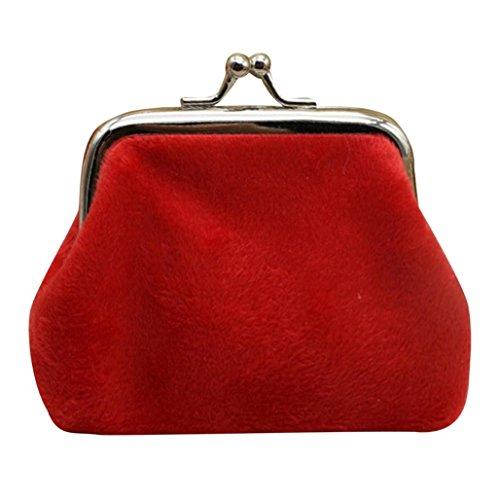 Hunpta Womens Cord kleine Brieftasche Halter Münze Handtasche Clutch Handtasche Tasche Rot