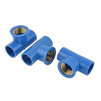 U-PVC 25mm 3 / 4PT Femme tuyaux de 25 mm 3 voies T tuyaux connecteurs bleus 3 Pcs