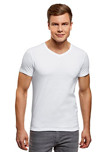 oodji Ultra Herren Tagless T-Shirt mit V-Ausschnitt (2er-Pack) Weiß (1000N)
