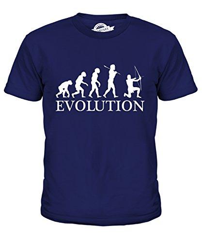 CandyMix Bogenschießen Bogenschütze Evolution Des Menschen Unisex Jungen Mädchen T Shirt, Größe 2 Jahre, Farbe Navy Blau