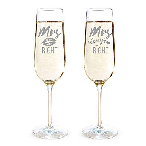 2er Set Sektgläser mit Gravur – Mrs right & Mrs always right – gleichgeschlechtliches Hochzeitspaar – Kussmund – Gläserset als Hochzeitsgeschenk – Geschenke für Verliebte – Standard