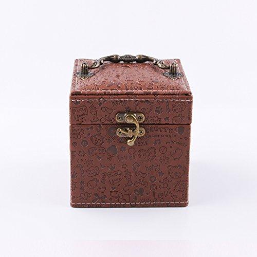 Kaffee Dekorative Aufbewahrungsbox (lzzfw Schmuckschatulle Weihnachtsgeschenk Box Europäischen Prinzessin Retro Leder Ring Aufbewahrungsbox Dekorative Box 12 * 12 * 12 Cm, Kaffee)
