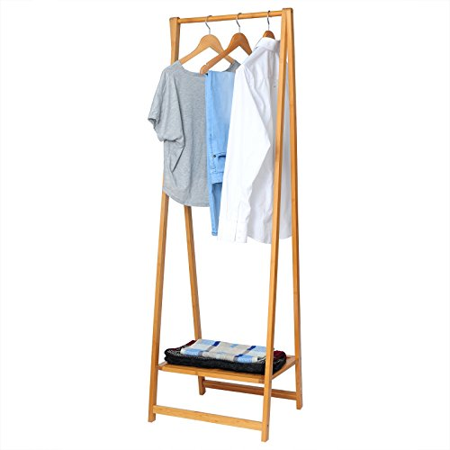 Kleiderständer aus Bambus Garderobenständer , Wäscheständer Ständer mit 1 Ablagefläche als Schuhablage , 50 x 42 x 158cm , natur , SR0034