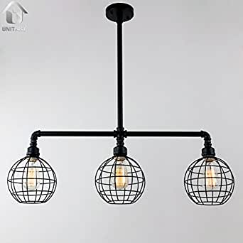 Unitary suspension en metal industriel cage e27 3x40w noir - Suspension metal industriel ...