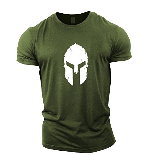 5f6fb68028bea2 GYMTIER Mens Bodybuilding T-Shirt - Spartan Helmet - Gym Training Top Green
