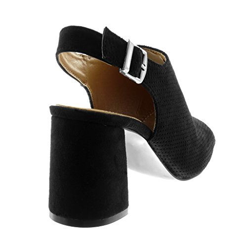 d63f158e8692f3 ... Angkorly Chaussures Chaussures Mode Decollete Mules Open-back Peep-toe  Femme Boucle Perforée String