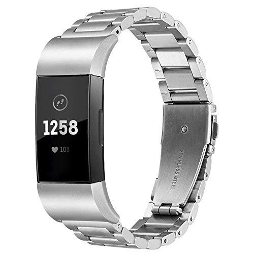 KIMBOB für Fitbit Charge 3 Armband, Uhrenarmband Edelstahl Ersatz Edelstahl Schlaufe Armbänder mit Metallschließe kompatibel Fitbit Charge 3 Fitness-Tracker für Damen Herren