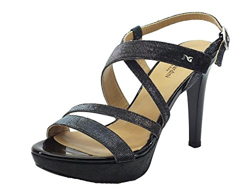NeroGiardini Sandali Donna in Vernice e Glitter Nero Tacco a Spillo Nero