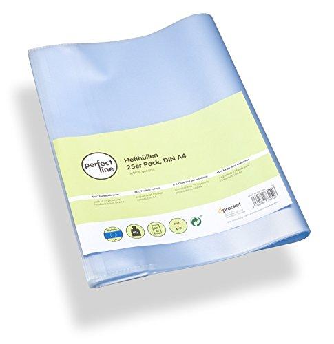 perfect line 25 Heft-Hüllen DIN-A4 transparent, Heft-Umschlag flexibel & abwischbar, Buch-Schoner mit Einband, Schutz-Hülle für Arbeit, Umschläge für Schul-Hefte -