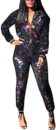 Comaba Women Outfits Casual Body-Con Gradients Sequin Tracksuit