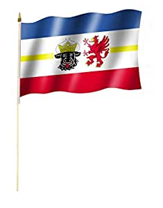 Étage Drapeau/Étage Drapeau Sarre Drapeau/drapeau env. 30x 45cm avec bâton env. 60cm/Étage