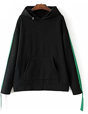 Otoño E Invierno Hit Color Costura Bolsillo De Canguro Señoras De Manga Larga Suelta Hoodie