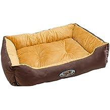 ECD Germany Cama para perro 75x58x19cm 15kg en poliéster lavable a 30 grados Color beige-marrón Tamaño: L