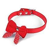 Hmeng Hundehalsband, Hunde Katze Welpen Wasserdichte NetterKnit Bowknot Haustier Kragen PU Leather Halsbänder Verstellbar Gurt Halskette für Haustier Hunden Katzen (1.5cm*37cm, Rot)