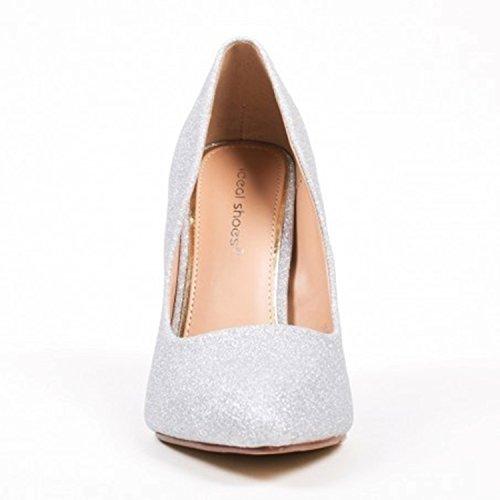 Klassische Damen Stilettos Pumps High Heels Plateau Schuhe Spitz 60 Silber 09