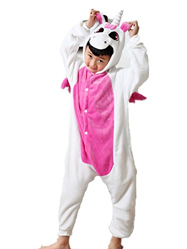Kenmont Jumpsuit Tier Cartoon Einhorn Pyjama Overall Kostüm Sleepsuit Halloween Cosplay Animal Sleepwear für Kinder Baby, Licht Rosa, Größe105: Höhe (Kostüme Halloween Cartoon)