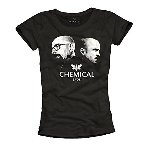 Heisenberg Pinkman T-Shirt für Frauen - CHEMICAL BROS Breaking Bad schwarz Größe (Kostüm Pinkman Und Heisenberg)