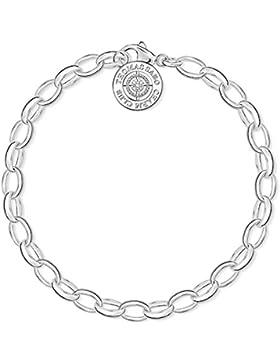Thomas Sabo Damen-Armband Charm Club 925 Silber Diamant (0.011 ct) weiß Brillantschliff