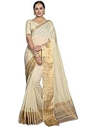 Pisara Women Chanderi Silk Saree With Blouse Piece,White Sari