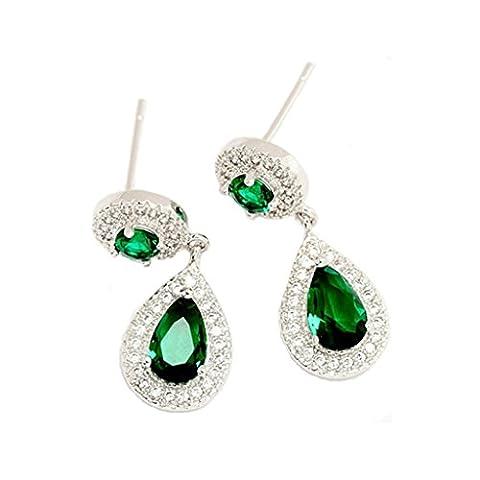 KnSam Boucles d'Oreilles Fantaisie Plaqué Or Blanc Percées Drop Earrings Teardrop Incrusté Cristal Rhinestone Vert [Novelty Earrings]