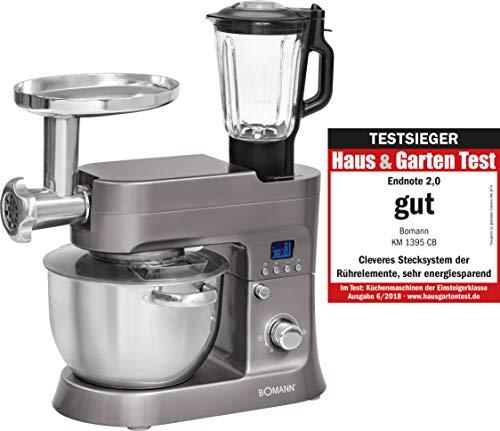 Bomann KM 1395 CB Robot de Cocina Multifunción, Batidora Amasadora 1200 W, 6.2 litros, Titanio