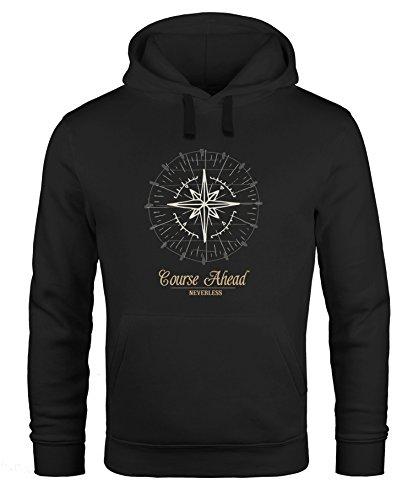 Hoodie Herren Kompass Windrose Navigator Segeln Kapuzenpullover Sweater Männer Neverless® schwarz XL